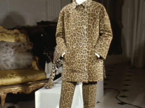 a model wears a leopard print suit designed by givenchy - stuffed stock videos & royalty-free footage