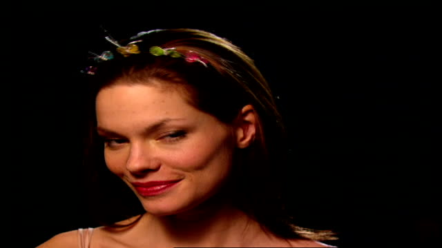 cu model with butterfly clip headband in hair - hair clip stock videos & royalty-free footage