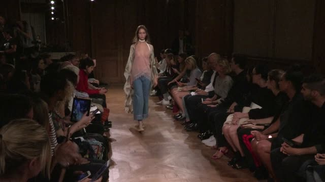 Models and all the staff of the atelier on the runway for the Vionnet Ready to Wear Fashion Show Spring Summer 2017 in Paris on September 28 2016 in...