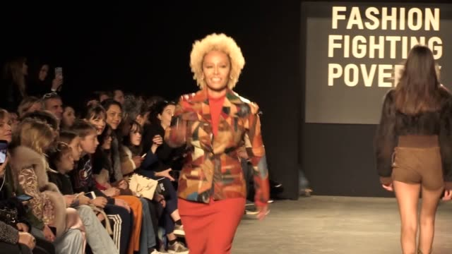 models and celebrities walk the catwalk for oxfam's fashion fighting poverty show in london models lottie moss and daisy lowe showcase sustainable... - sustainability stock videos & royalty-free footage