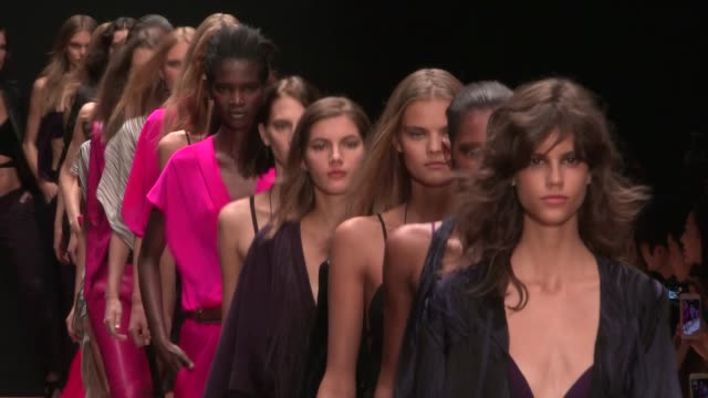Models and designer Barbara Bui on the runway for the Barbara Bui Spring Summer 2016 Fashion Show in Paris Thursday 1st October 2015 Paris France