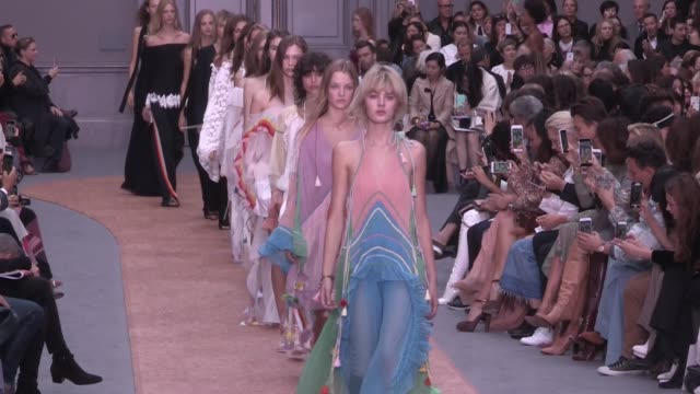 Models and designer Clare Waight Keller on the runway for the Chloe Spring Summer 2016 Fashion Show in Paris Thursday 1st October 2015 Paris France