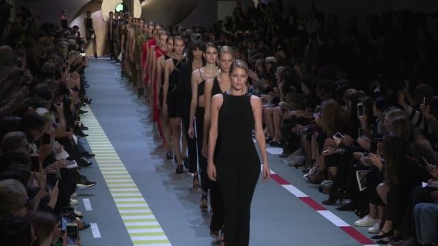 Models and designer David Koma on the runway for the Mugler Spring Summer 2016 Fashion Show in Paris Saturday 3rd October 2015 Paris France