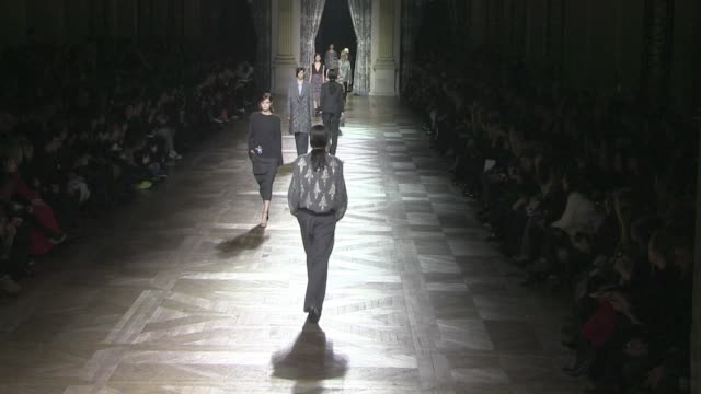 models and designer dries van noten on the runway for the dries van noten fashion show during the parisian fashion week. runway 2013 dries van noten... - 2013 stock videos & royalty-free footage
