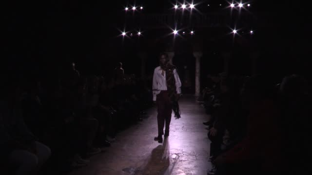 models and designer federico curradi on the runway for the rochas menswear fall winter 2020 fashion show in paris paris, france on thursday january... - paris fashion week stock videos & royalty-free footage