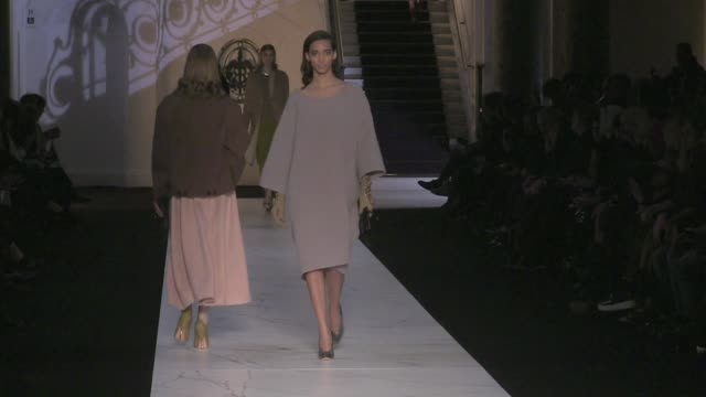 stockvideo's en b-roll-footage met models and designer marco zanini on the runway for the rochas fashion show during the parisian fashion week 2013 rochas runway in paris fashion week... - 2013