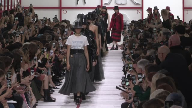 models and designer maria grazia chiuri on the runway for the dior ready to wear fall winter 2019 fashion show in paris paris, france on tuesday... - fashion designer stock videos & royalty-free footage