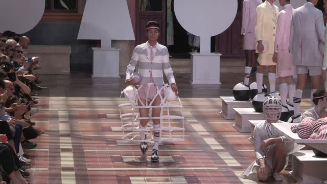 models and designer on the runway for for the thom browne spring summer 2020 menswear fashion show in paris paris, france on saturday june 22, 2019 - fashion show stock videos & royalty-free footage