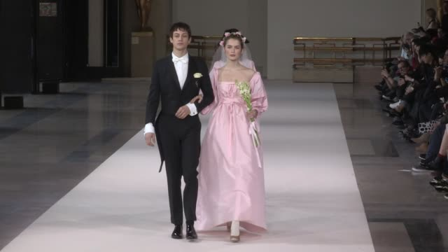 models and designer on the runway for the agnes b ready to wear fall winter 2018 fashion show in paris. paris, france, on monday, march 5, 2018 - 既製服点の映像素材/bロール
