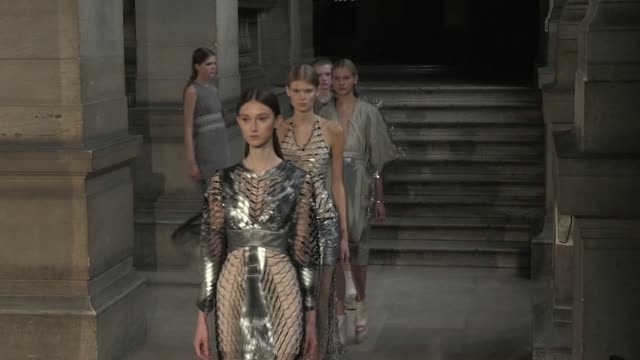 Models and designer on the runway for the Iris Van Herpen Spring Summer 2016 Fashion Show in Paris Tuesday 6th October 2015 Paris France