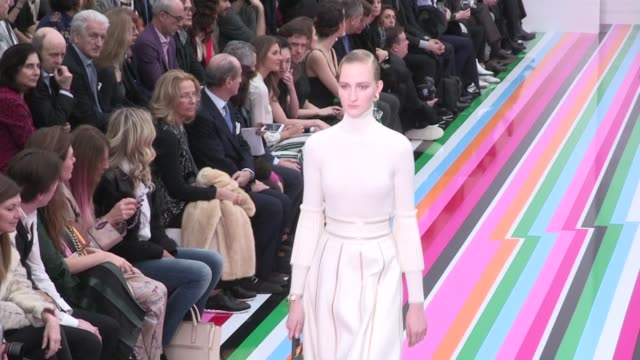 models and designer on the runway for the salvatore ferragamo fashion show in milan on february 28, 2016 in milan, italy. - salvatore ferragamo stock videos & royalty-free footage
