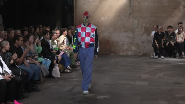 models and designer on the runway for the walter van beirendonck spring summer 2020 menswear fashion show in paris paris, france on wednesday june... - fashion show stock videos & royalty-free footage