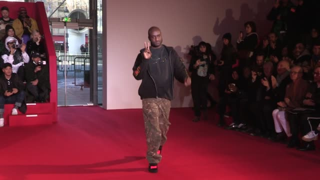 Models and designer Virgil Abloh on the runway for the Off/White Menswear Fall Winter 2018 Fashion Show in Paris Wednesday January 17 2018 Paris...