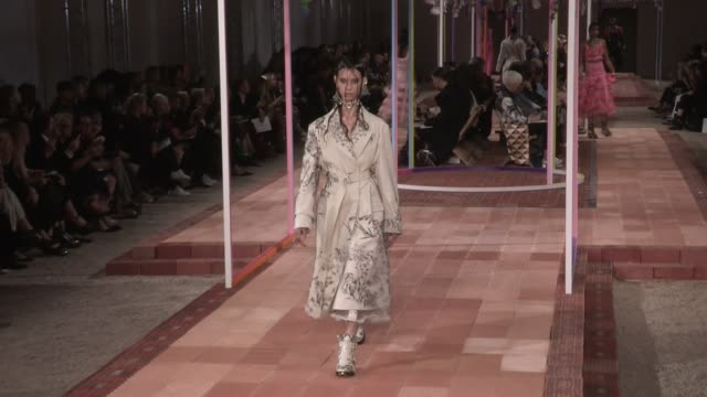 Models and designer walk the runway for the Alexander McQueen Ready to Wear Spring Summer 2018 Fashion Show in Paris Monday October 2 2017 Paris...
