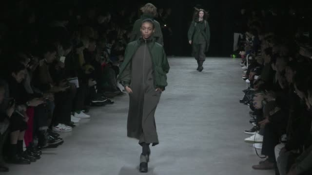 Models and designer Yohji Yamamoto on the runway for the Y3 Menswear Fall Winter 2017 Fashion Show in Paris on January 22 2017 in Paris France