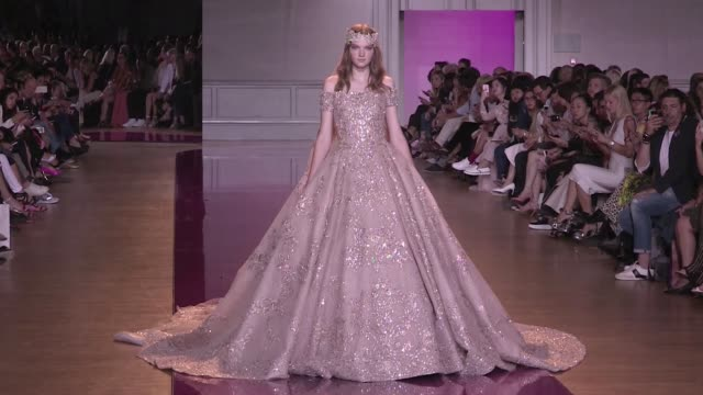 Models and designer Zuhair Murad on the runway for the Zuhair Murad Haute Couture Fall Winter 2016 Fashion show in Paris Wednesday 6th July 2016...