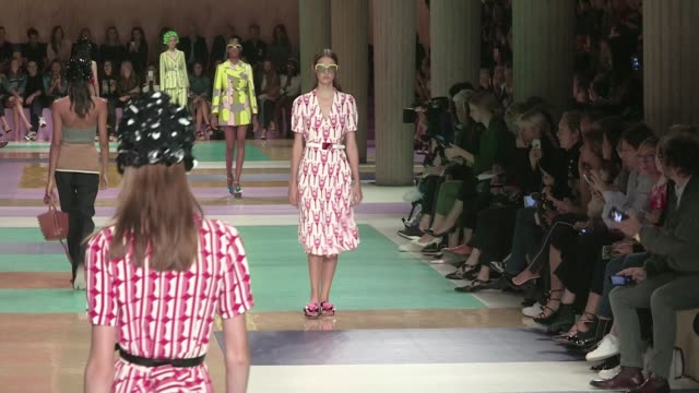 models and legendary designer miuccia prada on the runway for the miu miu ready to wear fashion show spring summer 2017 in paris on october 05 2016... - ランウェイ・ステージ点の映像素材/bロール