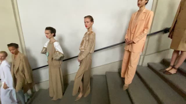 models are seen backstage at the max mara fashion show during the milan women's fashion week on september 24, 2020 in milan, italy. - milan fashion week stock videos & royalty-free footage