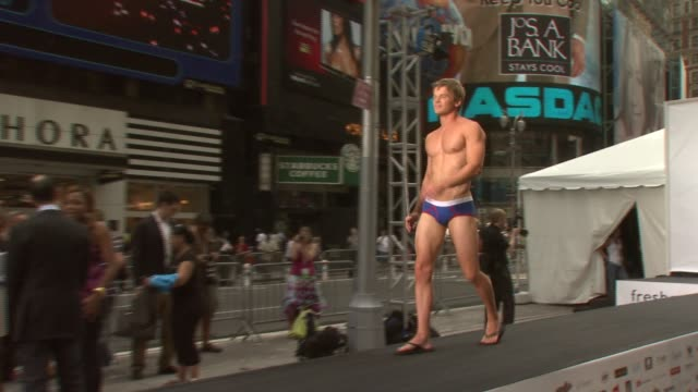 models at the national underwear day presented by freshpair com at times square in new york new york on august 7 2007 - underwear stock videos & royalty-free footage
