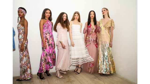models backstage ahead of the temperley london show during london fashion week february 2020 at the bfc show space on february 15 2020 in london... - design stock videos & royalty-free footage