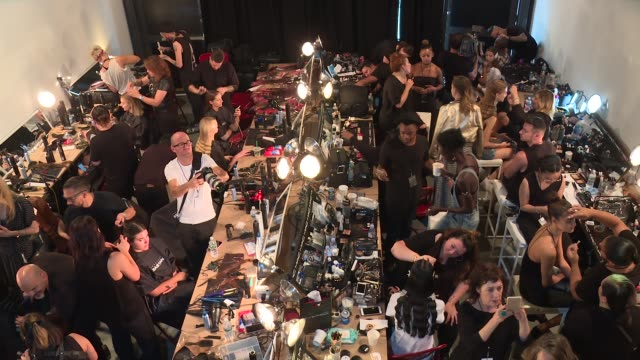 models backstage at christian siriano - september 2016 - new york fashion week at artbeam on september 10, 2016 in new york city. - fashion week stock videos & royalty-free footage