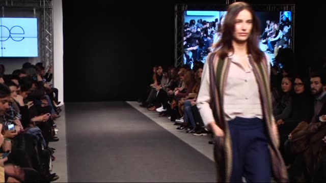 models display a creation by poe's fall-winter 2015/2016 fashion collection during madrid fashion show 2015 on february 4, 2015 in madrid, spain. - fashion collection stock videos & royalty-free footage
