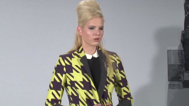 models display l.a.m.b. fall 2012 collection during mercedes-benz fashion week fall 2012 on in new york, ny. - fashion collection stock videos & royalty-free footage