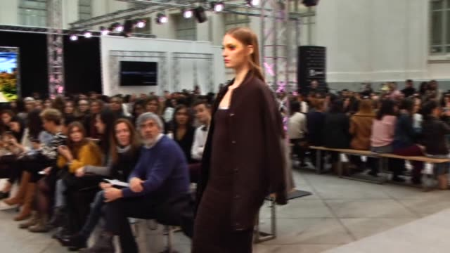 models get prepared and display maybelline new york's fallwinter 2015/2016 collection during madrid fashion show 2015 on february 4 2015 in madrid... - fashion collection stock videos & royalty-free footage