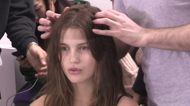 Models getting ready Backstage for the HM Fashion Show in Paris Paris France on Wednesday February 28 2018