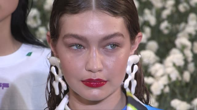 models gigi hadid and designer virgil abloh on the runway for the off white menswear spring summer 2020 fashion show in paris wednesday 19th june... - paris fashion week stock videos & royalty-free footage