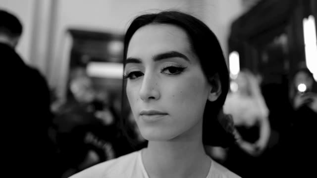 Models having their hair and make up done backstage at the Pam Hog AW18 fashion show during London Fashion Week at Freemasons Hall on February 16...
