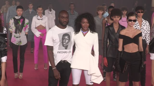 models kaia gerber naomi campbell and more walk the runway for the off white ready to wear spring summer 2018 fashion show in paris thursday... - ランウェイ・ステージ点の映像素材/bロール