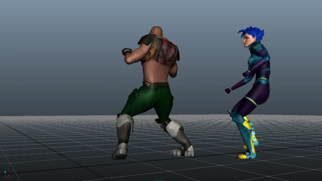 models of two animation characters, one man and one woman with blue hair, fighting each other on a plane - digital animation stock videos & royalty-free footage