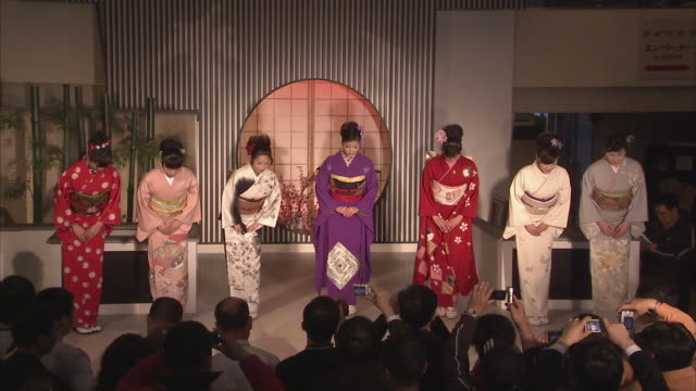 ws models on kimono fashion show, kyoto, japan - kyoto prefecture stock videos and b-roll footage