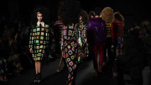 Models on the finale during the Ashish fashion show during London Fashion Week February 2019 on February 14 2019 in London England
