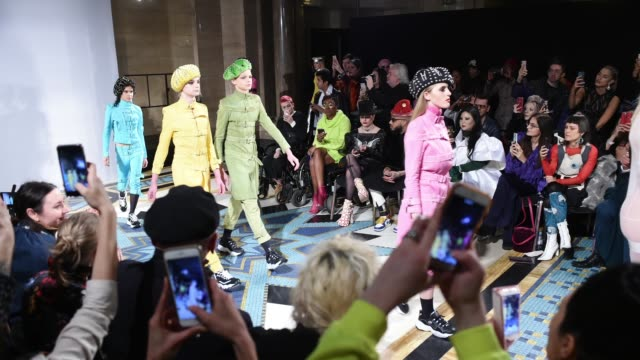 Models on the finale during the Pam Hogg Fashion Show during London Fashion Week February 2019 on February 14 2019 in London England