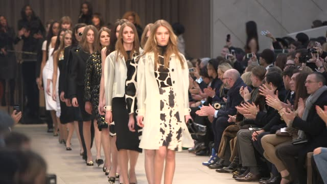 models on the runway at burberry prorsum - a/w 2013 catwalk show on february 18, 2013 in london, england - catwalk stage stock videos & royalty-free footage