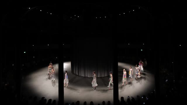 GIF Models on the runway finale at Mary Katrantzou during London Fashion Week SS19 on September 18 2018 in London England