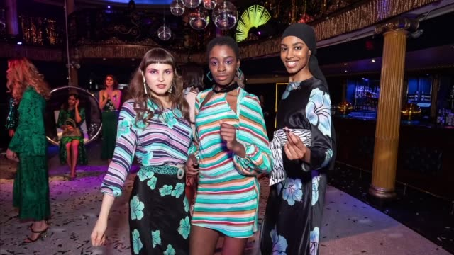 GIF Models pose during presentation at the RIXO London Presentation at GIF LFW February 2019 on February 14 2019 in London England