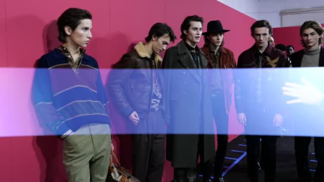 models pose for photographers at etro backstage fashion show during milan fashion week fall/winter 2020/2021, on january 12, 2020 in milan, italy. - milan fashion week stock videos & royalty-free footage