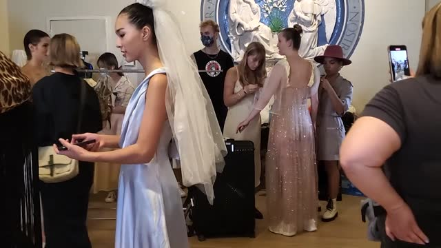 models prepare backstage for imitation of christ during nyfw: the shows at st. mark's church in the bowery on september 08, 2021 in new york city. - ニューヨークファッションウィーク点の映像素材/bロール