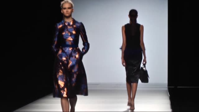 models present a creation by the 2nd skin co's autumnwinter 20152016 fashion collection during the mercedes benz fashion week madrid at ifema on... - mercedes benz fashion week stock videos & royalty-free footage