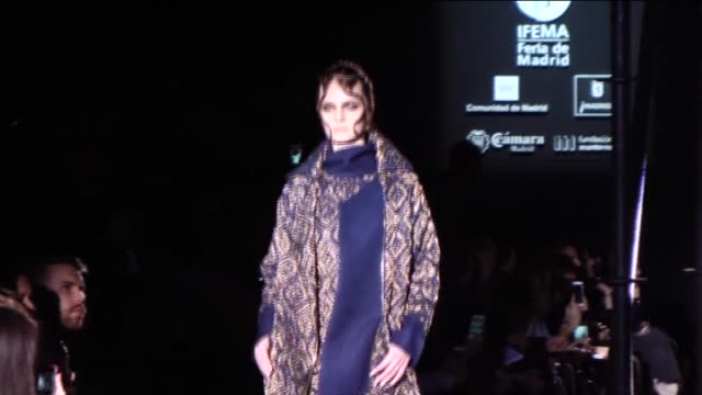 models present a creation from spanish label alvarno's fall/winter 2016-2017 collection during the mercedes-benz madrid fashion week at ifema in... - fashion collection stock videos & royalty-free footage