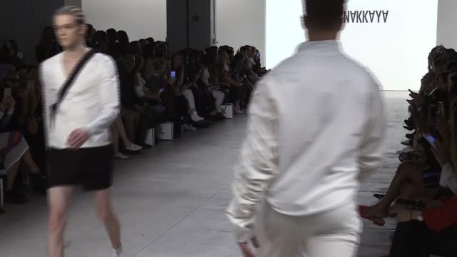 Models present creations by Turkish fashion designer Hakan Akkaya's SpringSummer 2018 collection during New York Fashion Week on September 11 in New...