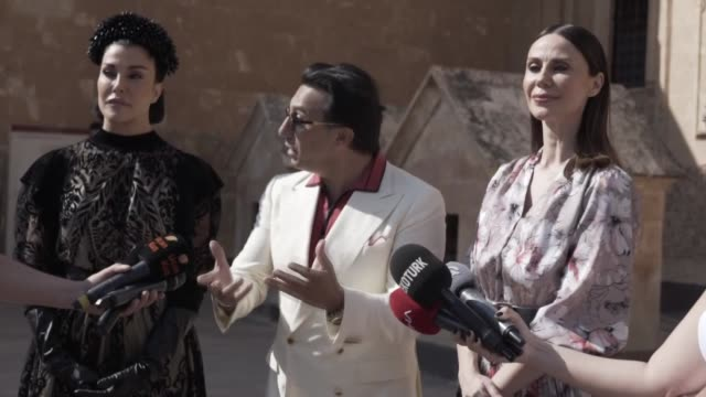 models present creations during dosso dossi 2020-21 winter creation digital platform fashion show at the ishak pasha palace, a semi-ruined palace and... - fashion show stock videos & royalty-free footage