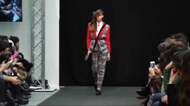 models present the creation of aurelia gil's fallwinter 2016 fashion collection at the madrid fashion show 2015 on february 5 2015 in madrid spain - fashion collection stock videos & royalty-free footage