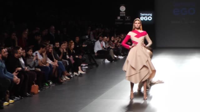 models presents the creation of spanish designer maria cle leal during the mercedes benz fashion week madrid at ifema on february 11 2015 in madrid... - mercedes benz fashion week stock videos & royalty-free footage