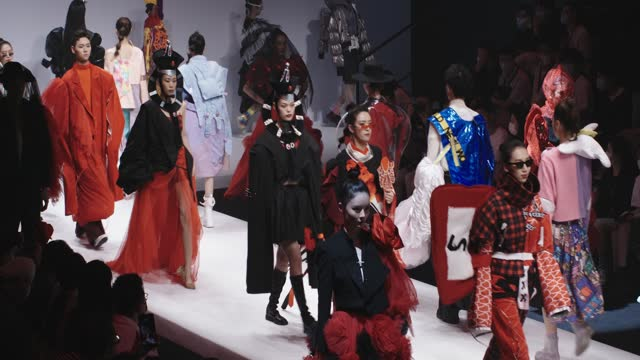 models showcase fashion designs on the runway at the wuhan textile university school collection show on day 5 of the 2021 china graduate fashion week... - asia stock videos & royalty-free footage