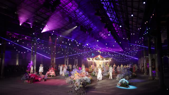 models stand in the middle of the display for the finale of the romance was born show during afterpay australian fashion week 2021 resort '22... - carriageworks stock videos & royalty-free footage