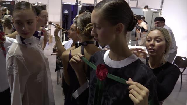 Models wait prepared backstageduring Ukrainian Fashion Weekat Mystetskyi Arsenal in Kiev Ukraineon 12 October2016 The event presents Spring/Summer...